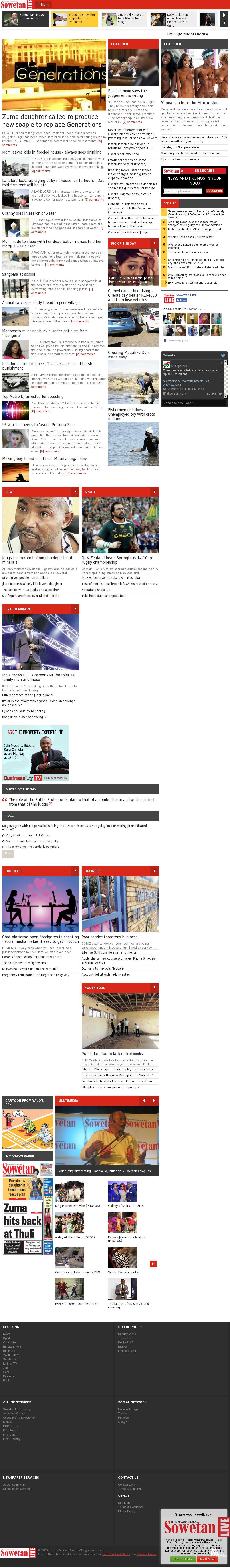 Sowetan Live at Sunday Sept. 14, 2014, 8:17 p.m. UTC