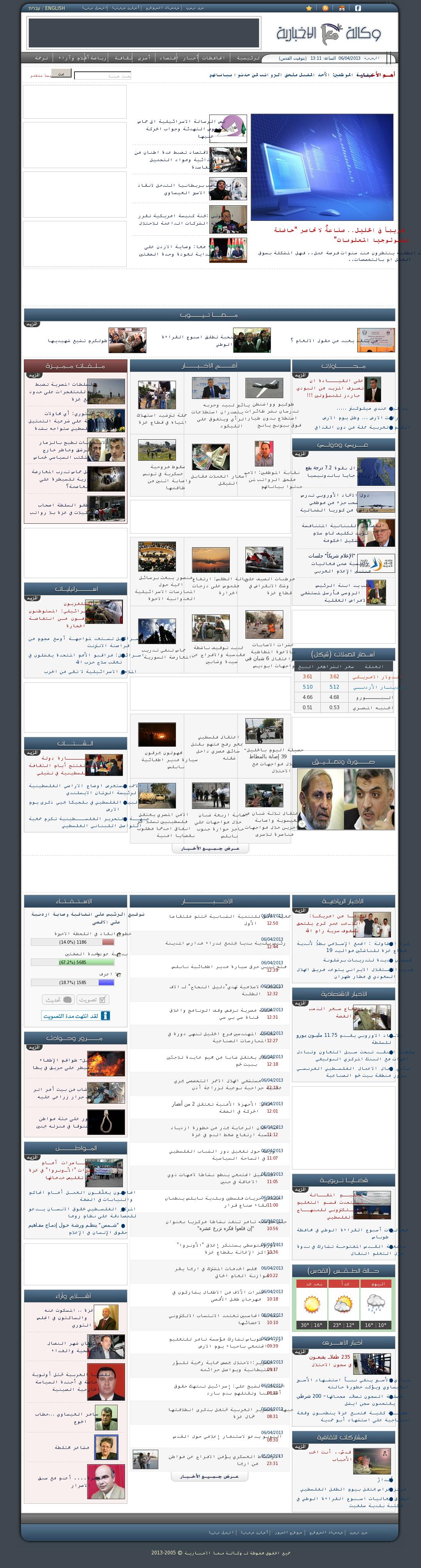 Ma'an News at Saturday April 6, 2013, 10:11 a.m. UTC