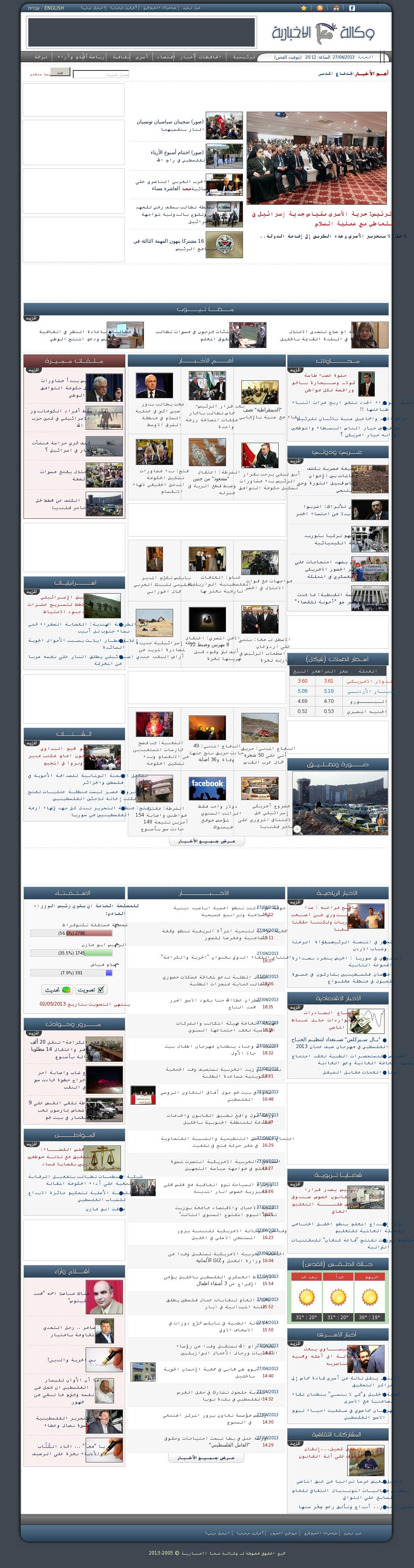 Ma'an News at Saturday April 27, 2013, 5:12 p.m. UTC