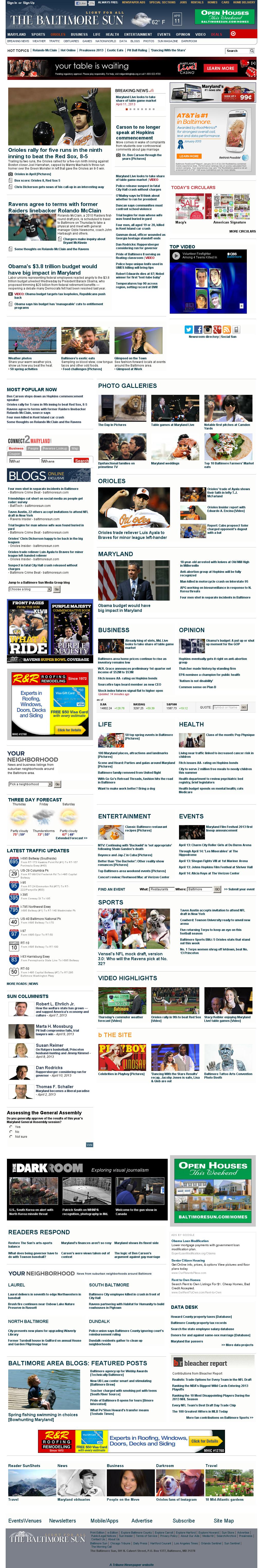The Baltimore Sun at Thursday April 11, 2013, 10:01 a.m. UTC