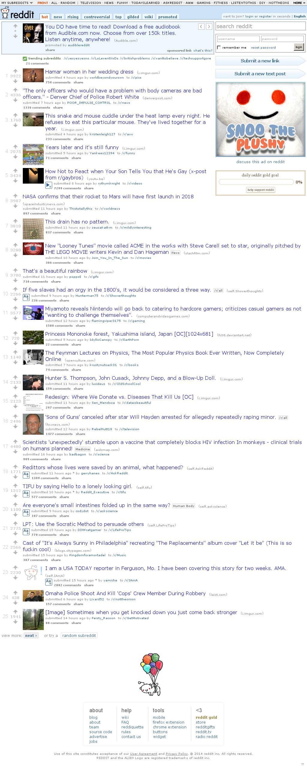 Reddit at Thursday Aug. 28, 2014, 7:15 a.m. UTC
