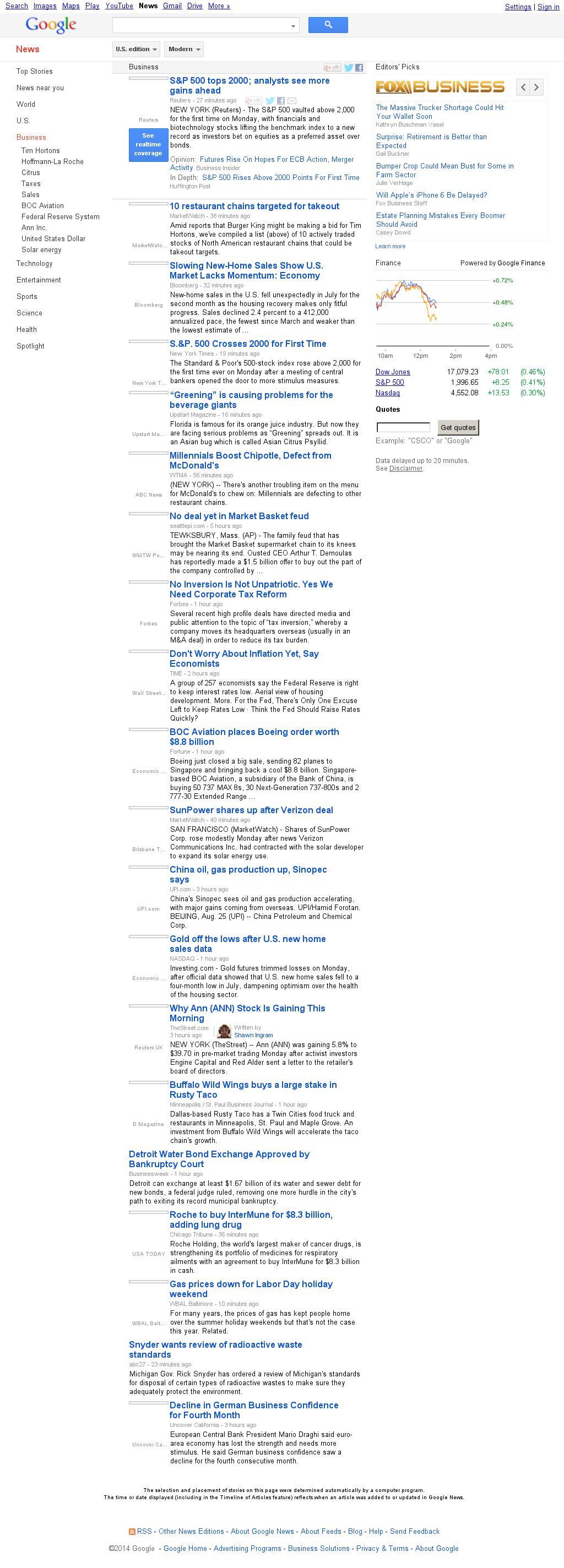 Google News: Business at Monday Aug. 25, 2014, 5:09 p.m. UTC