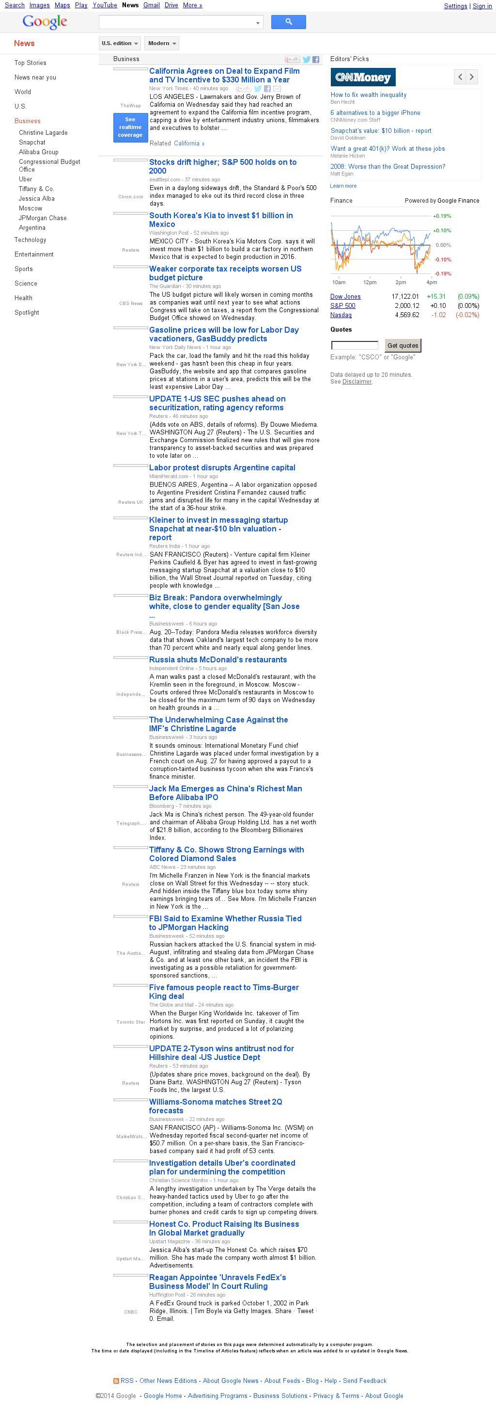 Google News: Business at Wednesday Aug. 27, 2014, 10:07 p.m. UTC