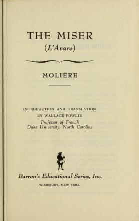 Cover of: The miser | Molière