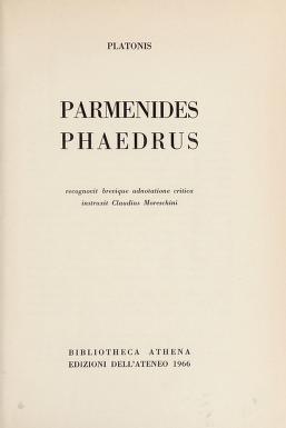 Cover of: Parmenides | Plato